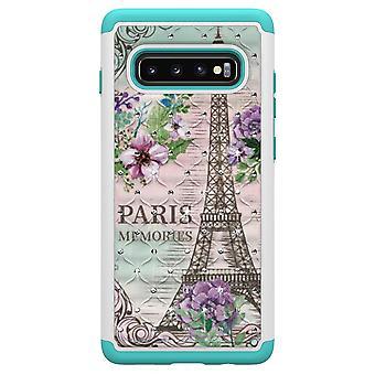 Samsung Galaxy S10+ TPU-Skal Armor Extra Tåligt - Eiffel Tower and Flower