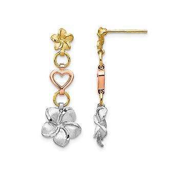 14K White, Yellow and Pink Gold Flower Heart Dangle Polished Plumeria Flower Earrings