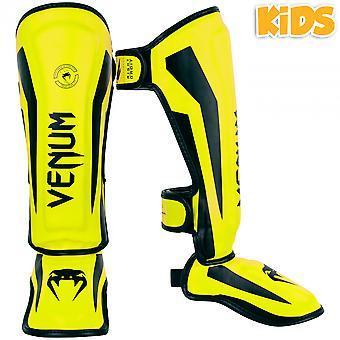 Venum Kids Elite Shinguards - Neo Yellow