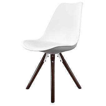 Fusion Living Eiffel Inspired White Plastic Dining Chair With Pyramid Dark Wood Legs