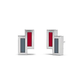 Washington State University Sterling Silver Asymmetrisk emalj Stud örhängen i rött och grått