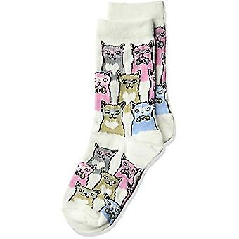 Kid's Crew Socks - K Bell - Kid's Smarty Cats White (7-8.5)