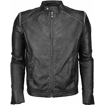 Imitation Leather Jacket - Leather Jacket - Street Wear - Grey Black
