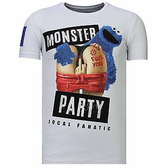 Monster Party-Strass T-shirt-weiß