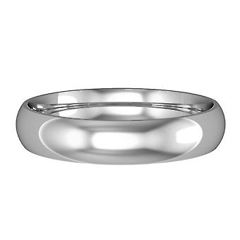 Jewelco London 9ct White Gold - 4mm Essential Court-Shaped Band Commitment / Wedding Commitment Ring