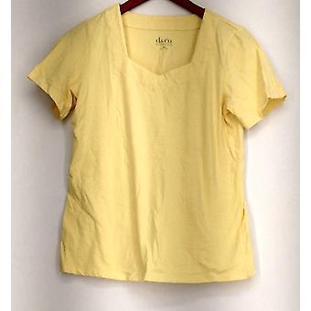 Denim & Co. Essentials Perfect Jersey Short Sleeve Top Yellow A215870