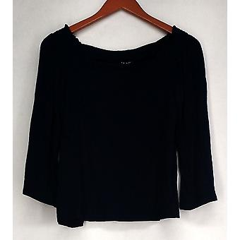 Iman Top Long Sleeved Squared Neck Gathered Shoulders Soft Navy Blue  473-148