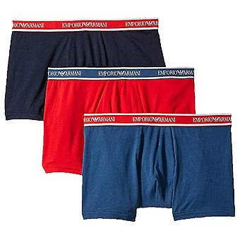 Emporio Armani Fashion Multipack Cotton Stretch 3-Pack Boxer Brief, Cobalt / Red / Marine, X Large