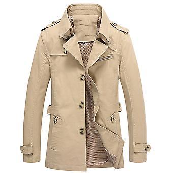 Allthemen Men's Bawełniana kurtka Solid Slim Fit Jesień Klapa Casual Trench Coat
