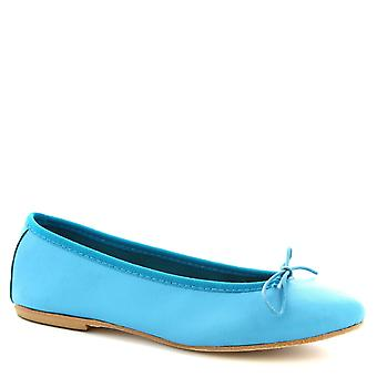 Leonardo Shoes Women's handmade ballet flats shoes in turquoise napa leather