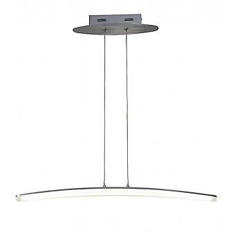 Mantra Hemisferic Pendant 20W LED 70cm Bar 3000K, 1800lm, Satin Aluminium/Frosted Acrylic, 3yrs Warranty