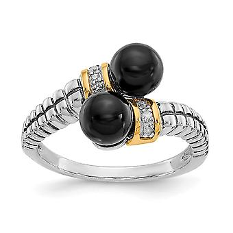925 sterling zilver met 14k zwart gesimuleerde Onyx en Diamond Ring-Ring grootte: 6 tot en met 8