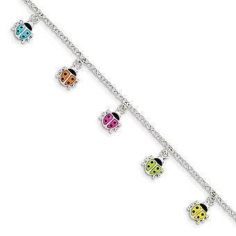 925 Sterling Silver Silver Enamel Ladybug Bracelet 6 Inch - 4.3 Grams