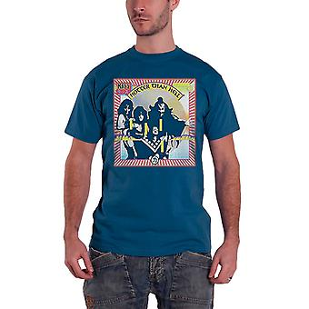 Kiss T Shirt Hotter Than Hell band logo Official Mens New Blue