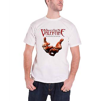 Bullet For My Valentine Mens T Shirt White Temper Temper Blood Hands Official