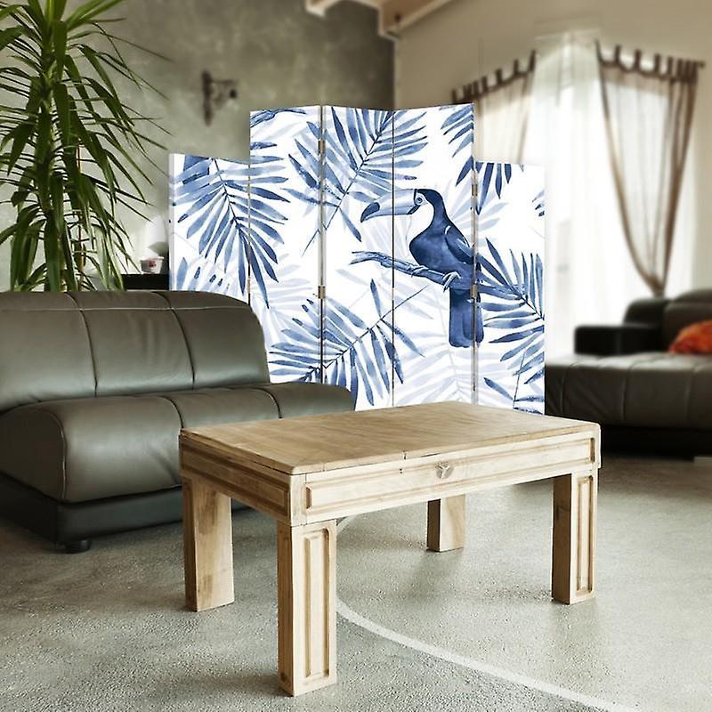 Diviseur de pièce décorative, 5 panneaux, double-face, toile rotative de 360 , Toucans bleus 2