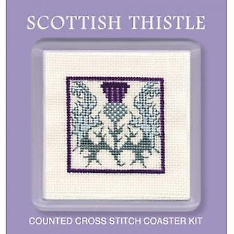 Textile Heritage Counted Cross Stitch Heraldic Thistle Miniature Card