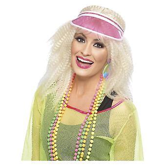 Womens 80er Jahre rosa Poker Visor Fancy Dress Zubehör