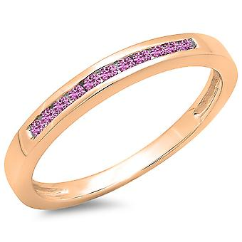 Dazzlingrock Collection 0.15 Carat (ctw) 14K Round Pink Sapphire Ladies Wedding Band Stackable Ring, Rose Gold