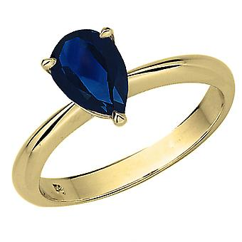 Dazzlingrock Collection 14K 9X7mm Pear Cut Blue Sapphire Solitaire Bridal Engagement Ring, Yellow Gold
