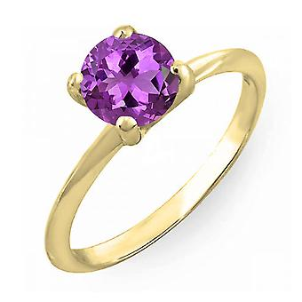 Dazzlingrock Collection 14K 6mm Round Cut Amethyst Solitaire Bridal Engagement Ring, Yellow Gold
