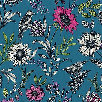 Botanical Songbird Wallpaper Teal Arthouse 676001