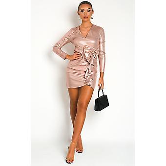 IKRUSH Womens Lorna metallic mini kjole