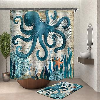 Octopus Vintage Map Shower Curtain