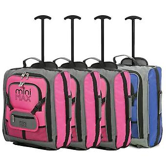 Minimax (45x35x20cm) childrens luggage carry on suitcase with backpack and pouch (x3 pink + x1 blue)