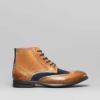 Mister Carlo Leonardo Mens Leather Brogue Ankle Boots Tan/navy