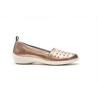 Padders Rava Ladies Leather Wide (d/e) Slip On Shoes Rose Gold