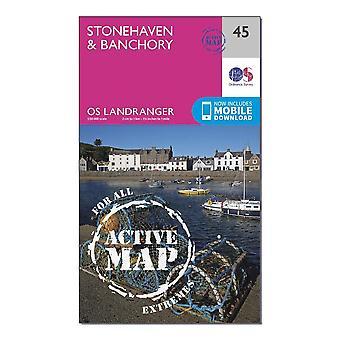 New Ordnance Survey Landranger Active 45 Stonehaven & Banchory Map Orange