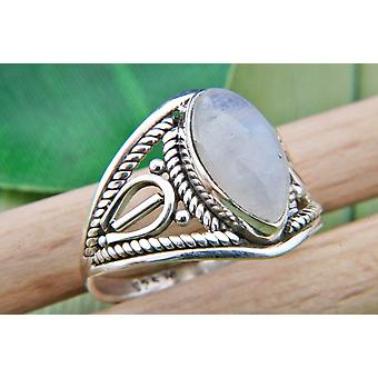 Moonstone Ring 925 Silver Sterling Silver Silver Women's Ring White (IRM 70-04)