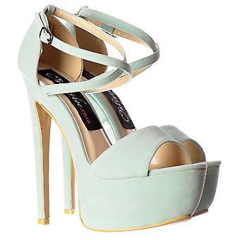 Onlineshoe Strappy Cross Over Pastel Stiletto Plataforma High Heel Party Zapatos - Ante de menta, Ante Fucshia