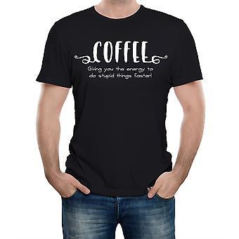 Realiteit glitch koffie, waardoor u de energie te doen domme dingen sneller mens t-shirt