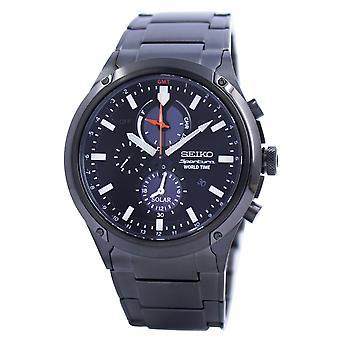 Seiko Sportura World Time Solar Chronograph SSC481 SSC481P1 SSC481P Men's Reloj