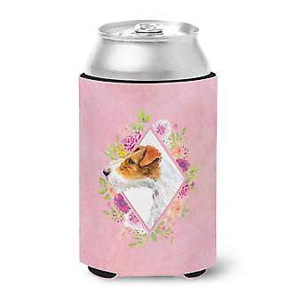 Jack Russell Terrier #2 Pink Flowers Can or Bottle Hugger