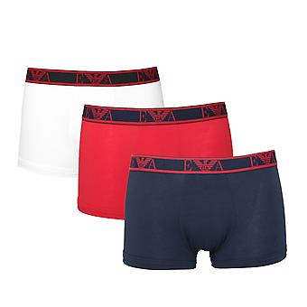 Emporio Armani 3 Pack Navy, Red & White Eagle Logo Trunks