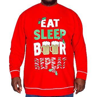 Duke D555 Mens Christmas Xmas Big King Size Sweatshirt Sweater Jumper Top - Red