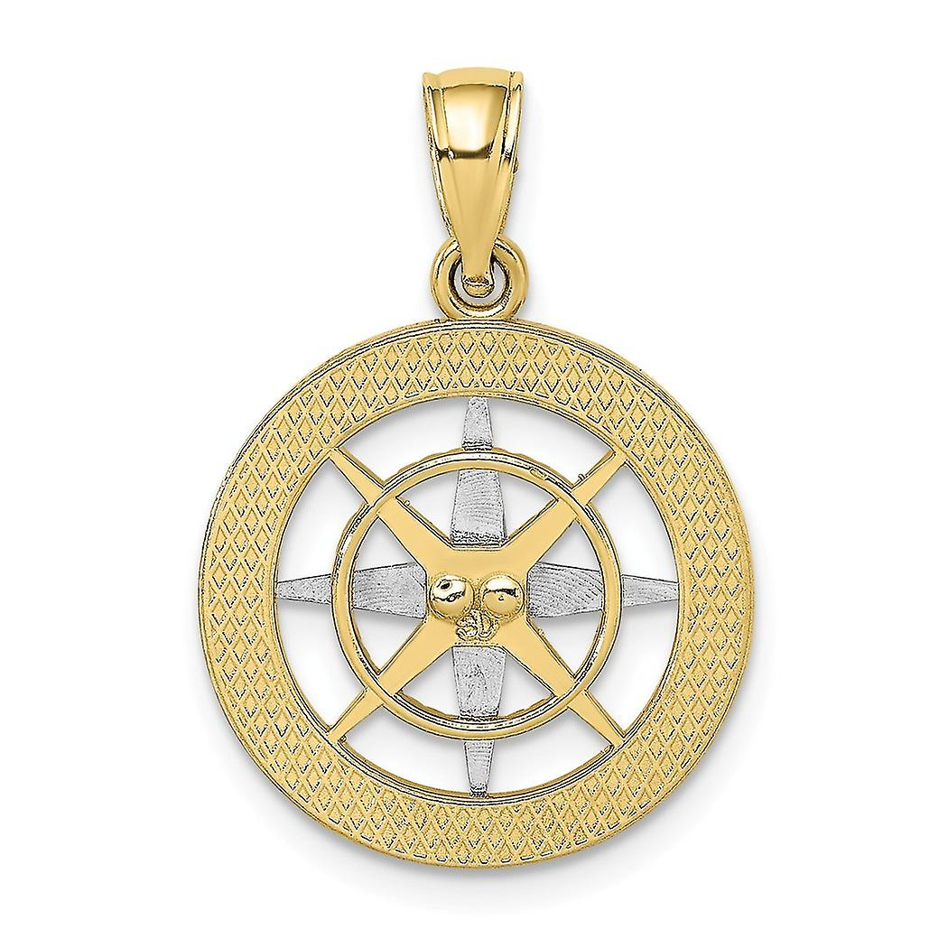 10 k Zwei-Ton Gold nautischen Kompass weiß Nadel Anhänger Halskette Schmuck Geschenke für Frauen