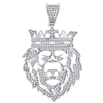 925 Sterling Argento Uomo Rotondo C'è Cubic irconia Simulato Diamante Re Della Moda Pelle Pelle Fascino Gioiello Regalo