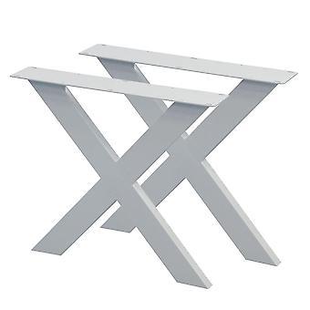 Sarja valkoisia X pöydän jalat 72 cm (putki 10 x 4)