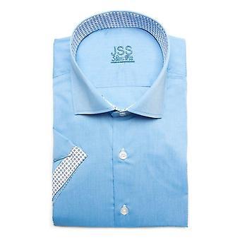 JSS Plain Sky Blue Slim Fit Camisa de manga curta com acabamento branco