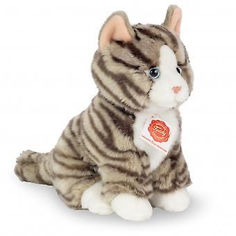 Hermann Teddy Kuschelkatze Grau tigered sitzend