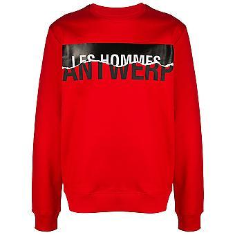 Les Hommes Lih207756p5009 Men's Red Cotton Sweatshirt