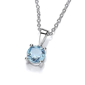 David Deyong Sterling Silver Blue Topaz Necklace November Birthstone
