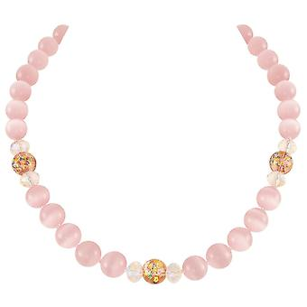 Eternal Collection Serene Soft Pink Cats Eye Beaded Silver Tone Statement Necklace
