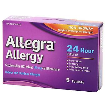 Allegra 24 uur allergie, 180 mg, tabletten, 5 ea