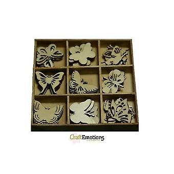 CraftEmotions Holz Ornament Box botanische Schmetterlinge 45 Stück - Box 10,5 x 10,5 cm