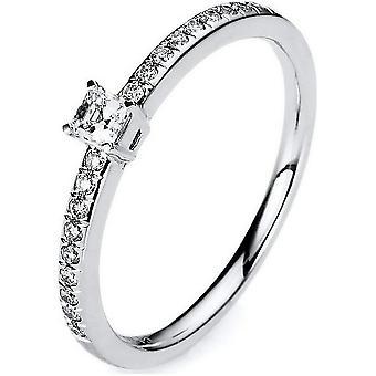 Diamond ring of 4 pper 750/white gold 0.24 ct.